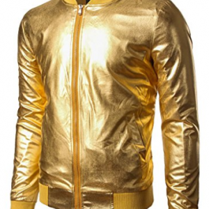 JOGAL Mens Metallic Nightclub Styles Zip Up Varsity Baseball Bomber Jacket