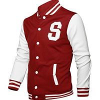 Allegra K Men Long Sleeves Button Front Letters Varsity Jacket