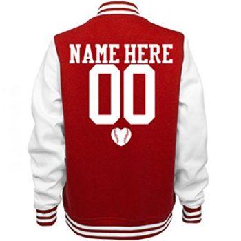 Cute Baseball Girlfriend Name Ladies Fleece Letterman Varsity Jacket