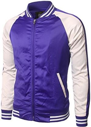 23987a72c64 JOGAL Mens Zip Up Stain Contrast Colors Varsity Baseball Bomber Jacket