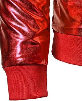 JOGAL Mens Sequins Nightclub Styles Zip up Varsity Baseball Bomber Jackets