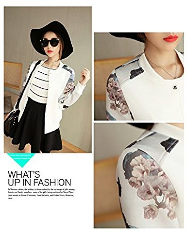 Lingswallow Womens Fashion Casual Floral Thicken Varsity Bomber Jacket