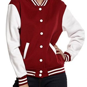 Meaneor Women's Baseball Long Sleeve Coats Slim Fit Bomber Club Varsity Jacket