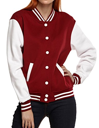 995b644c8 Buy Meaneor Women's Baseball Long Sleeve Coats Slim Fit Bomber Club ...