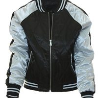 Miss London Womans Juniors Satin Quilted Varsity Bomber Ladies Flight Jacket WZipper Sleeve Pocket