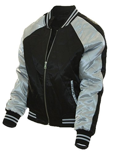 Miss London Womans Juniors Satin Quilted Varsity Bomber Ladies