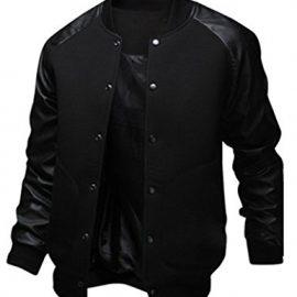 Sorrica Mens Fashion Splicing Leather Sleeve Baseball Varsity Bomber Jacket