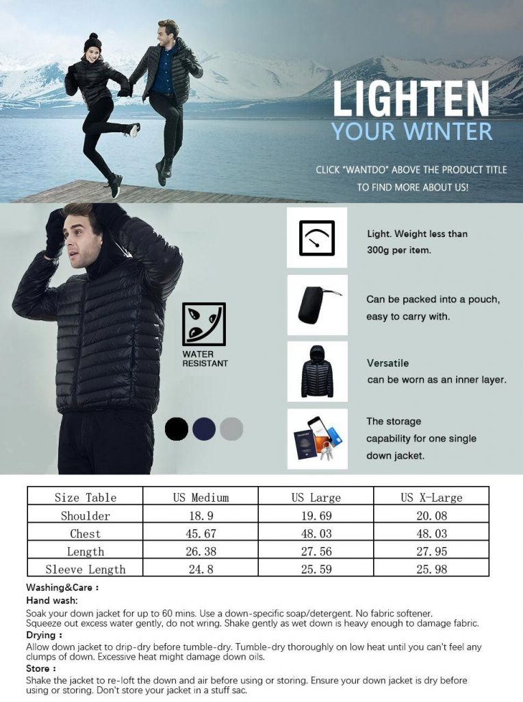 Wantdo Men's Hooded Packable Light Weight Down Jacket