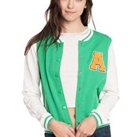 Womens Active Fleece Letterman Slim Fit Baseball Varsity Jackets