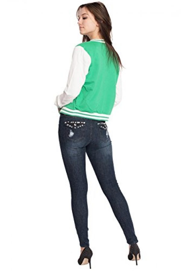 Womens Active Fleece Letterman Slim Fit Baseball Varsity Jackets