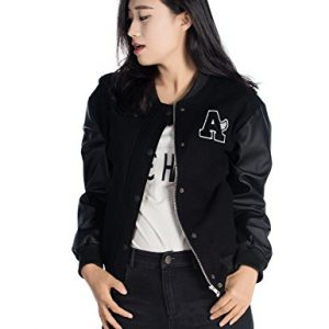 Women's Basic Bomber Jacket Baseball Coat with Faux Leather Sleeves