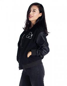 Women's Basic Bomber Jacket Baseball Coat with Faux Leather Sleeves