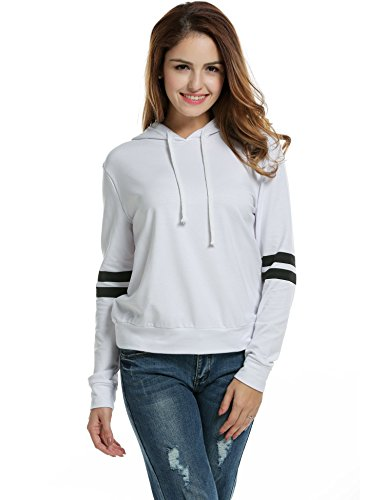 Zeagoo Women Pullover Hoodie Striped Long Sleeve Casual Sweatshirt