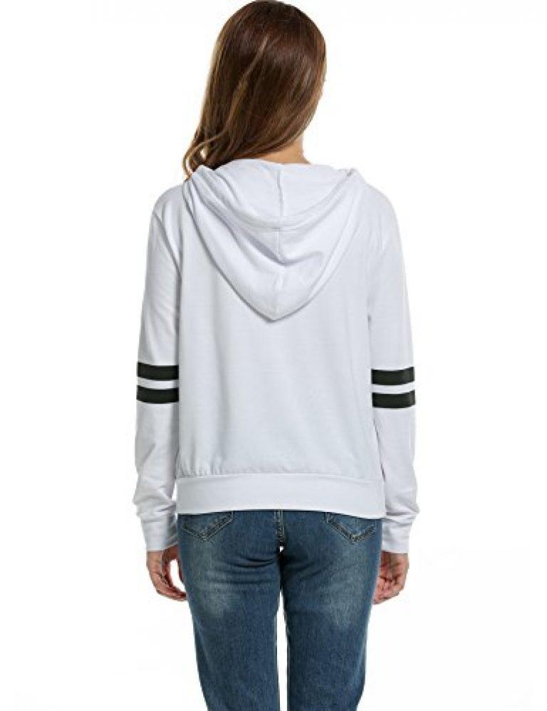 Zeagoo Women Pullover Hoodie Striped Long Sleeve Casual Sweatshirt