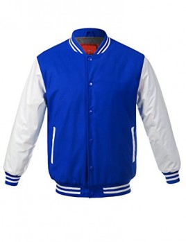 JD Apparel Men's Two-Tone Premium Varsity Baseball Jacket