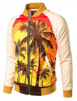 JOGAL Mens Zipper Bomber Jacket Lettermen Style Sunset Coconut Tree Couples Top(Order One Size UP)2