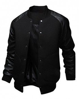 Sorrica Mens Fashion Splicing Leather Sleeve Baseball Varsity Bomber Jacket