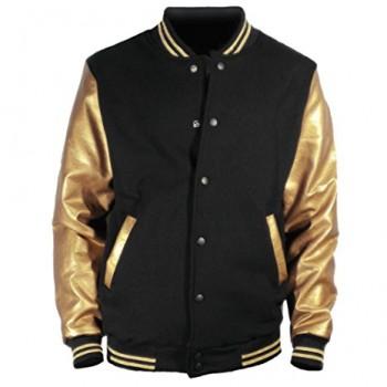 U World Men's Faux Leather Cotton Baseball Varsity Jacket Gold-1