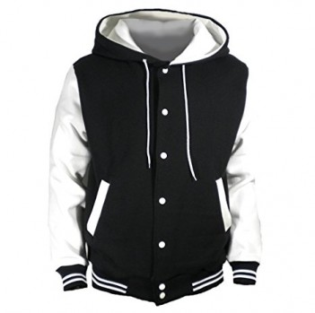 U World Men's Hood Baseball Varsity Jacket White