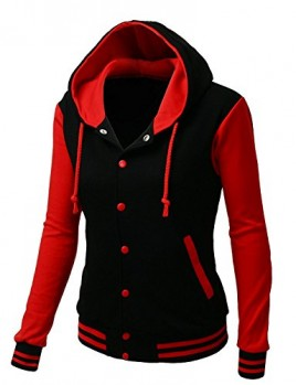 Xpril Women's Stylish Fabric Hoodie Baseball Jacket Overcoat