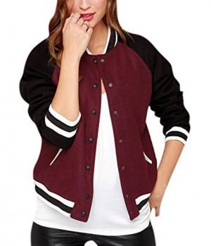 xiaoming Women's Causal Color Block Baseball Bomber Varsity Sport Jacket Coat